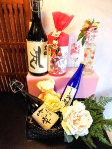 内祝いにも日本酒とお花のギフト